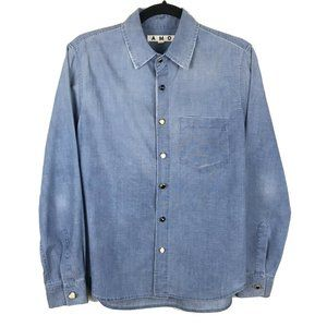 AMO Cotton Chambray Distressed Button Front Shirt